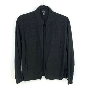 Eileen Fisher 100% Silk Pleated Ribbed Cardigan